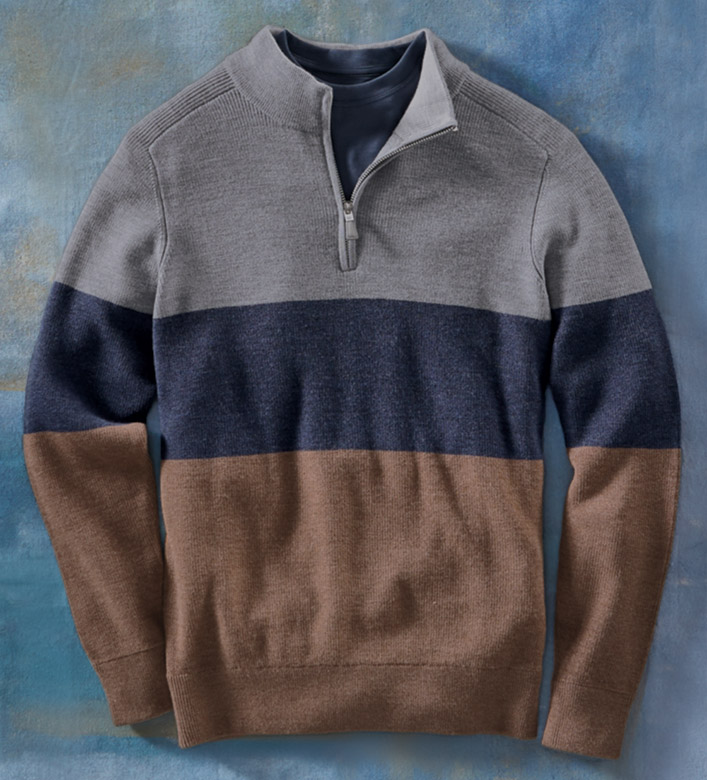Peter Millar Colorblock Quarter-Zip Wool Sweater