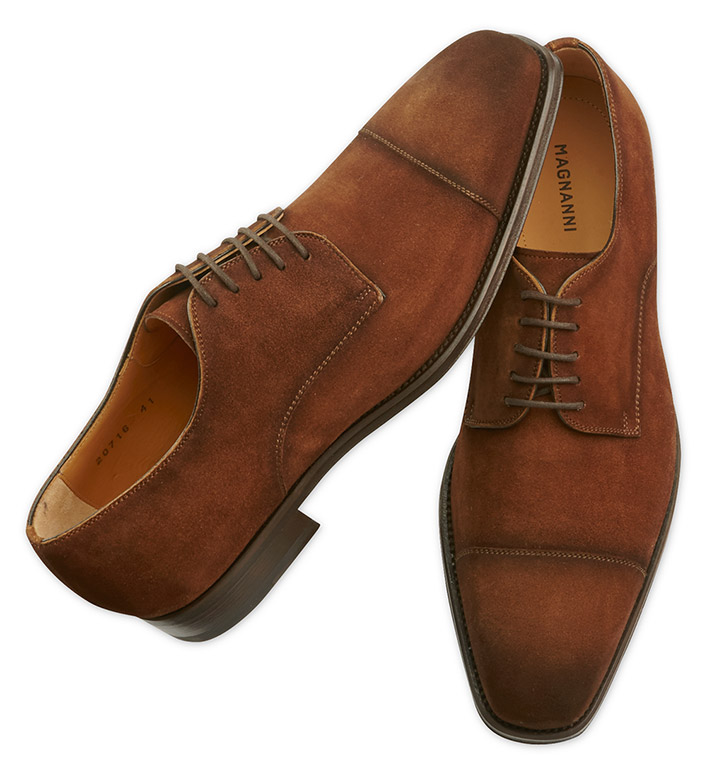 Magnanni Suede Captoe Leather Shoes