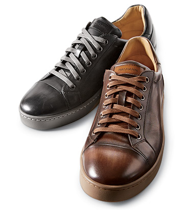 Tobaco Caitin Leather Sneakers