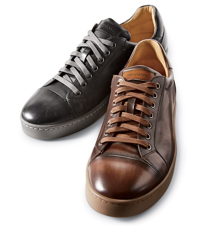 Magnanni Tobaco Caitin Leather Sneakers