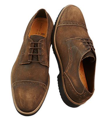 Weathered Liverpool Captoe Suede Shoes