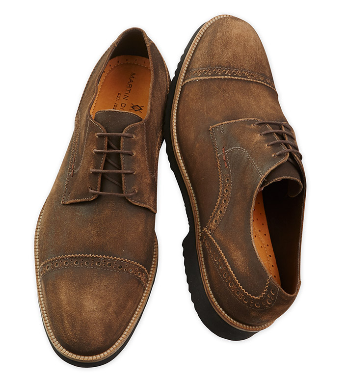 Martin Dingman Weathered Liverpool Captoe Suede Shoes