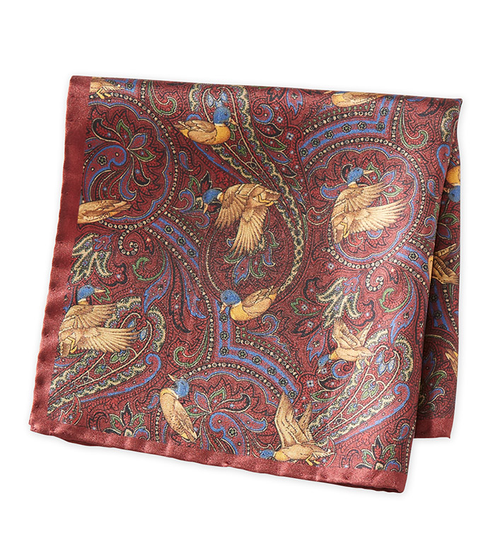 Amanda Christensen Burgundy Silk Pocket Square