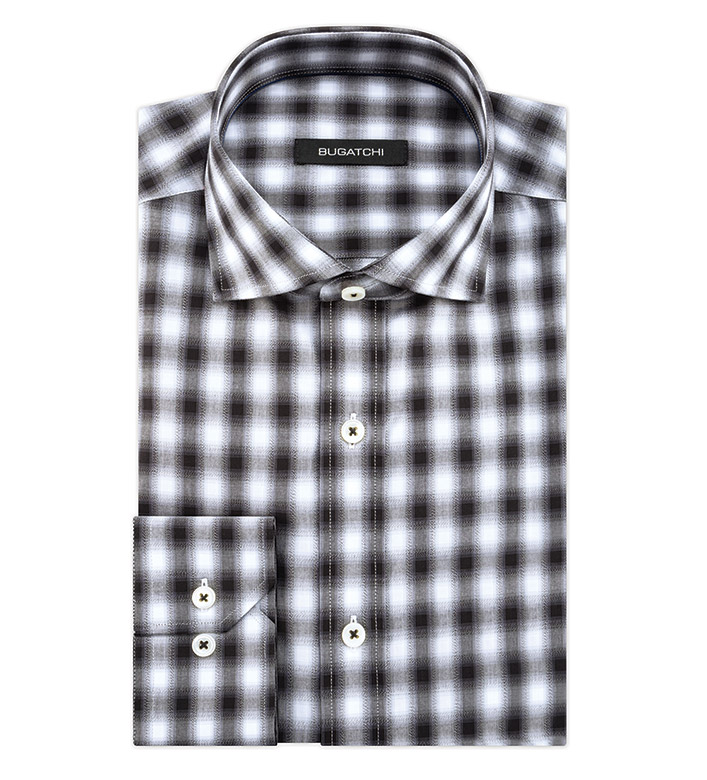 Bugatchi Uomo Ombre Check Long Sleeve Sport Shirt