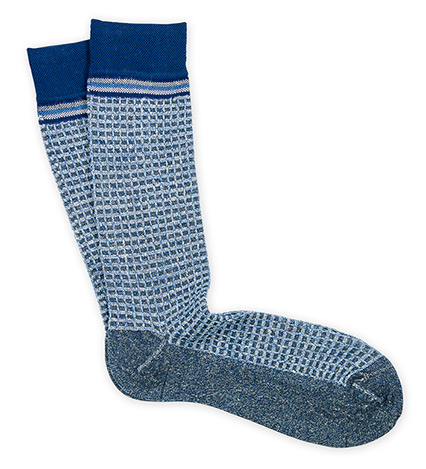 Basket Check Linen-Blend Socks