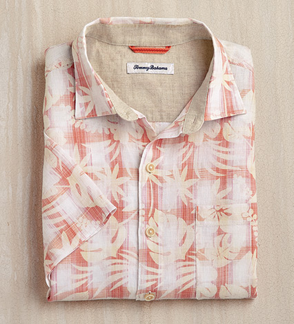 Plaid in Paradise Short Sleeve Linen Sport Shirt
