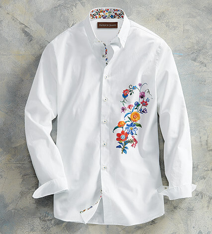 White Floral Bouquet Long Sleeve Sport Shirt