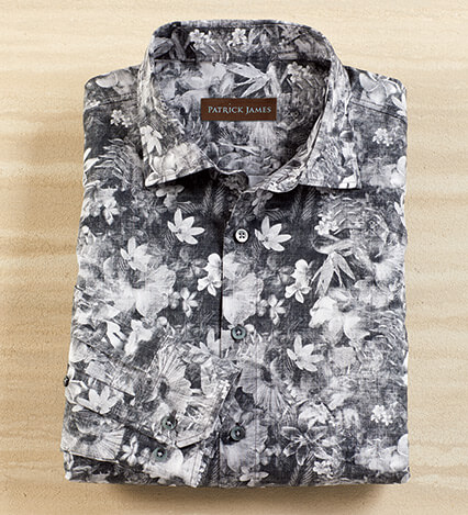 Black and White Floral Long Sleeve Sport Shirt