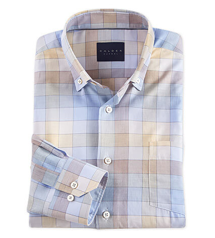 Melange Check Cotton Long Sleeve Sport Shirt