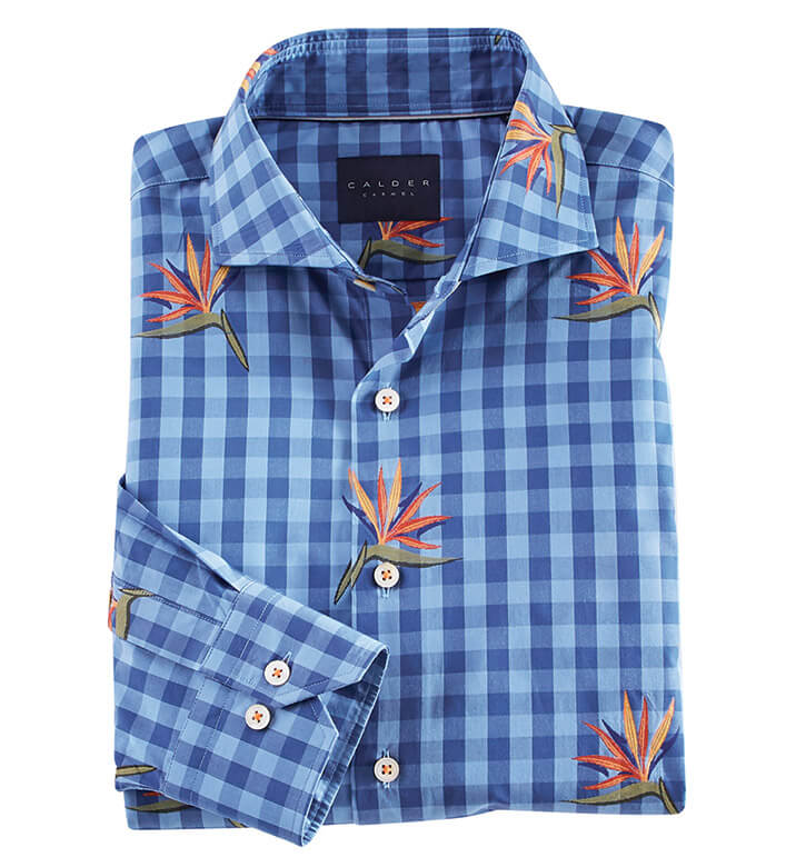 Calder Carmel Bird of Paradise Check Long Sleeve Sport Shirt