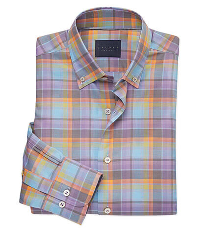 Melange Plaid Long Sleeve Sport Shirt