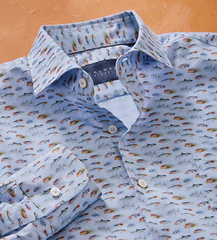 Fish Print Long Sleeve Sport Shirt