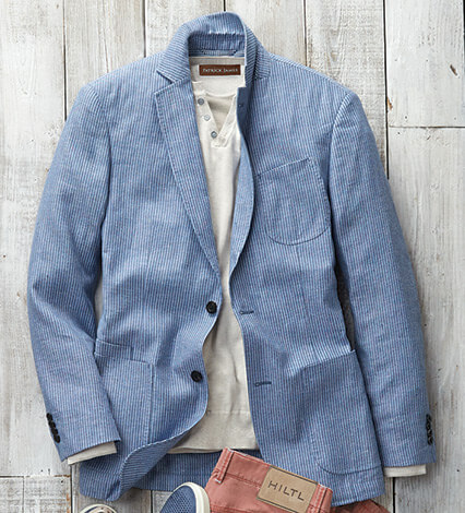 Light Blue Stripe Soft Coat