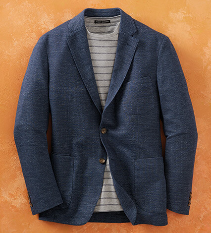 Navy Herringbone Knit Soft Coat
