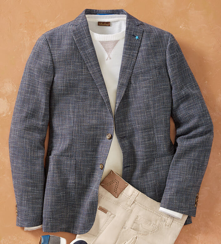 Patrick James Striated Navy Sport Coat
