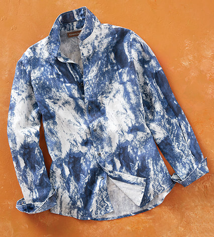 Tie-Dye Long Sleeve Sport Shirt
