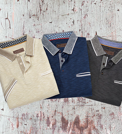 Striated Knit Short Sleeve Polo Shirt