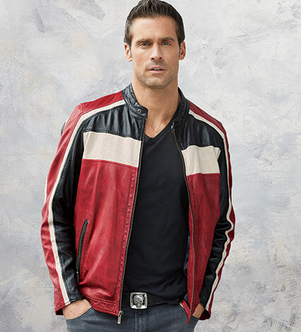Three-Way Color Lambskin Bomber Jacket