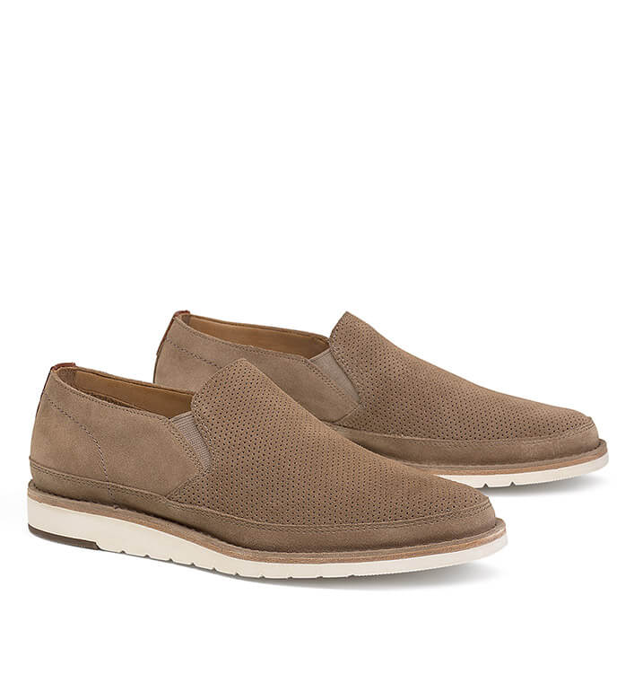 Trask Barnett Taupe Suede Slip-On Shoes