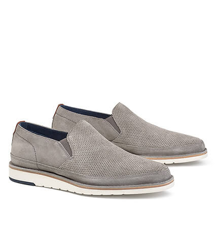 Barnett Grey Suede Slip-On Shoes