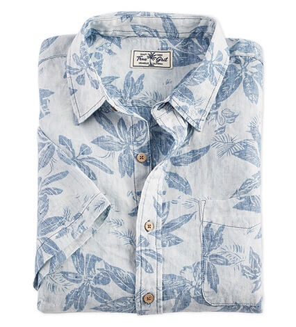 Faded Indigo Floral Short Sleeve Sport Shirt