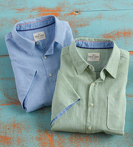 Cotton Linen Mini Check Short Sleeve Sport Shirt