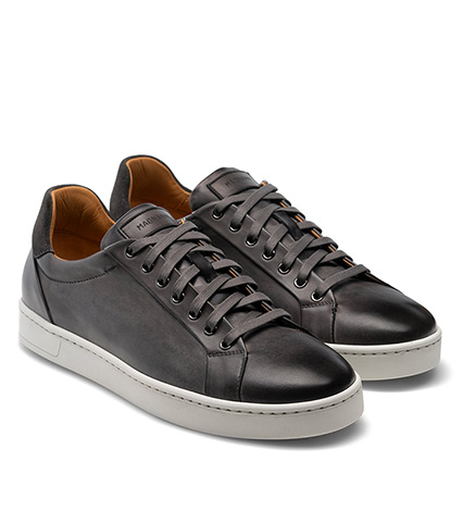 Elonso Grey Leather Sneakers