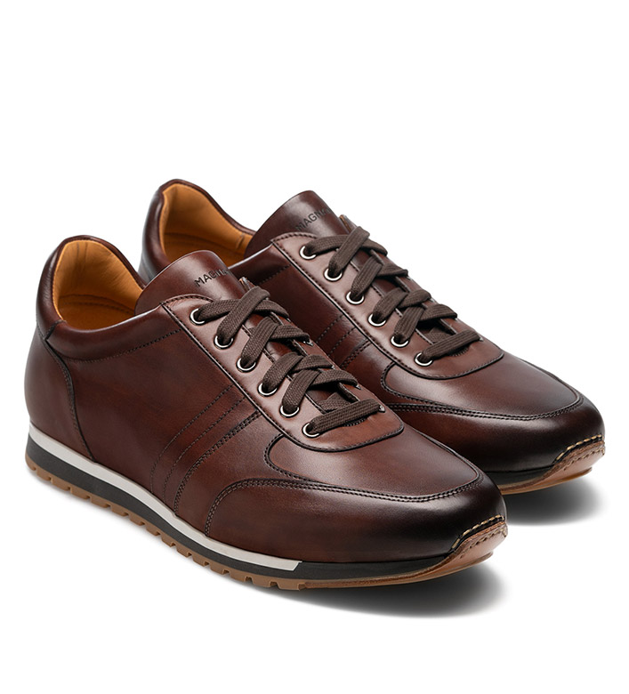 Magnanni Ibiza Mid Brown Leather Sneakers