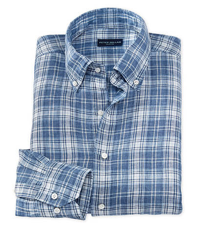 Avignon Plaid Long Sleeve Linen Sport Shirt