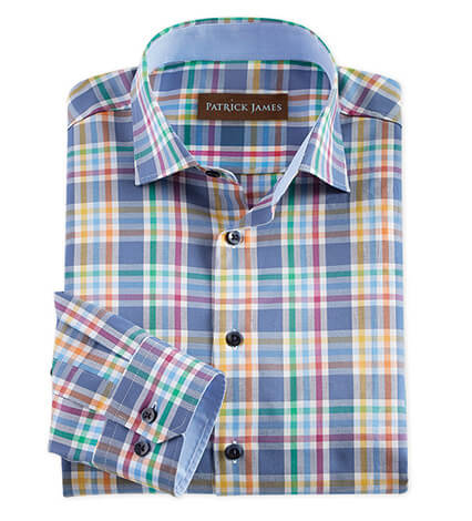 Cotton Plaid Long Sleeve Sport Shirt