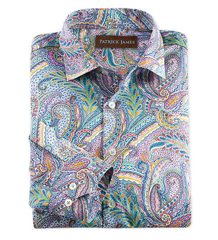 Cotton Paisley Long Sleeve Sport Shirt