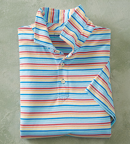 Palm Cove Stripe Short Sleeve Polo Shirt