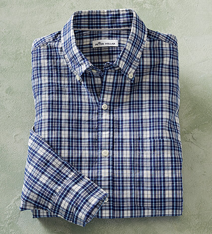 Bondi Beach Plaid Long Sleeve Sport Shirt