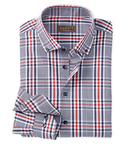 Navy and Red Plaid Long Sleeve Sport Shirt