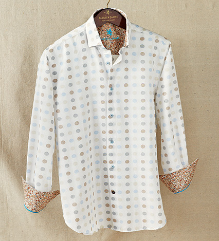 Geometric Dots Long Sleeve Sport Shirt
