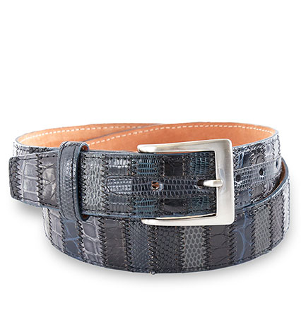 Grey Multi Patchwork Leather Belt