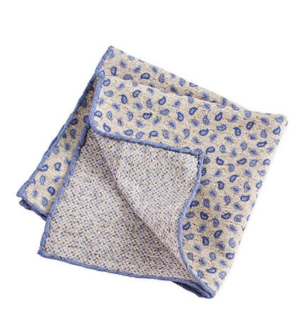 Beige and Blue Paisley Pocket Square