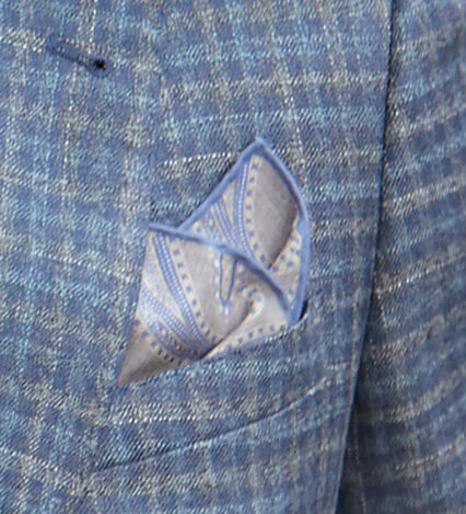 Grey and Blue Paisley Pocket Square