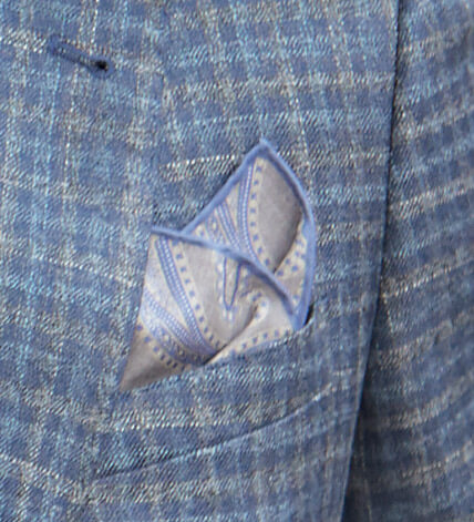 Pacific Silk Grey and Blue Paisley Pocket Square