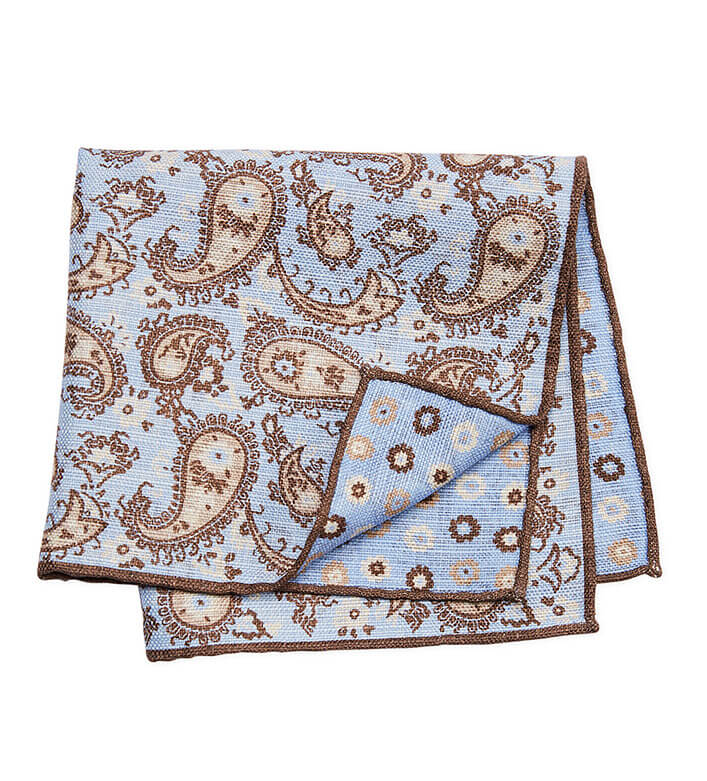 Pacific Silk Blue and Beige Paisley Pocket Square