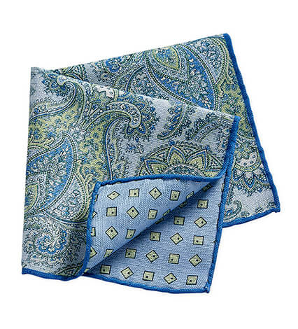 Blue and Green Paisley Pocket Square