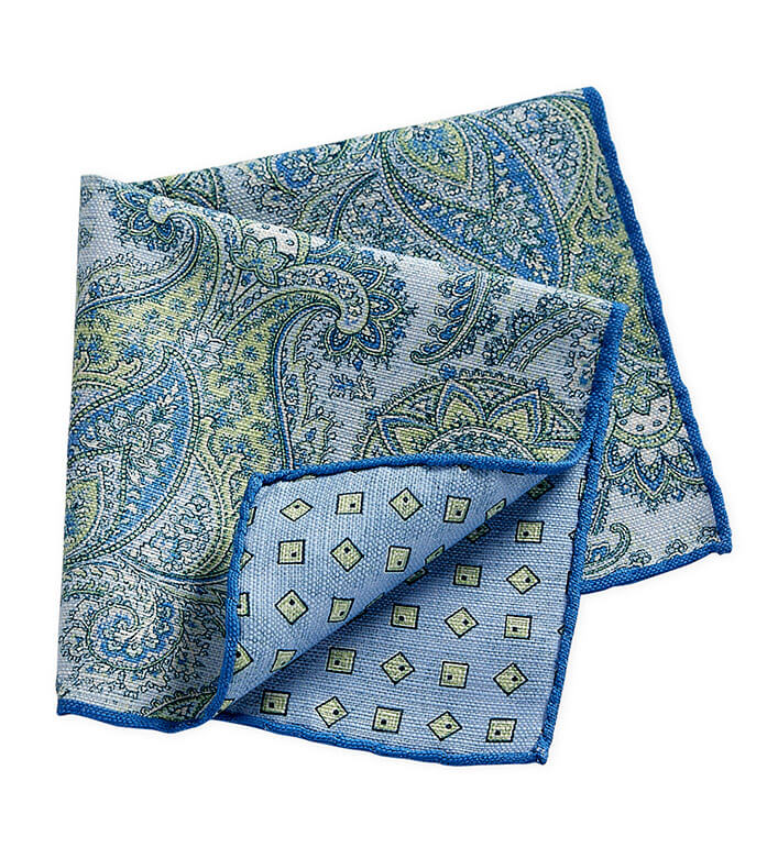 Pacific Silk Blue and Green Paisley Pocket Square