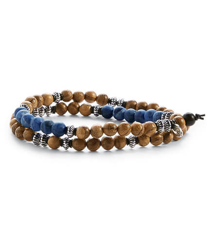Tan Blue Silver Double-Wrap Bracelet
