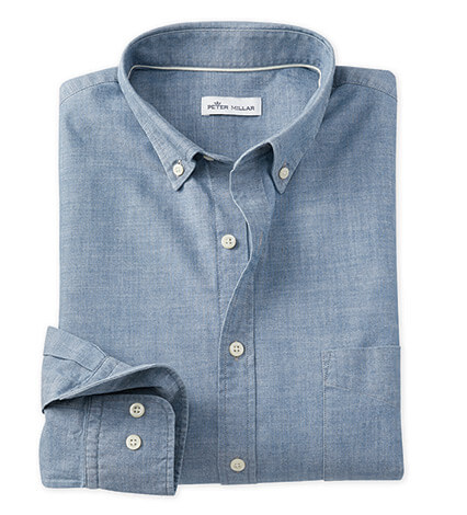Vintage Indigo Chambray Long Sleeve Sport Shirt