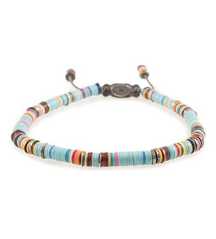 African Vinyl Disc Light Blue Bracelet
