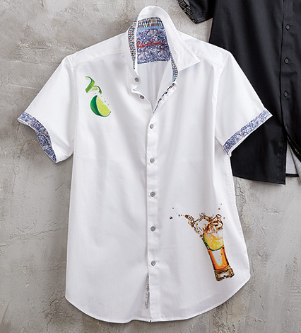 Salt & Tequila Cocktail Print Short Sleeve Sport Shirt