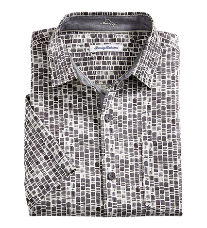 Bamboo Tiles Silk Camp Shirt