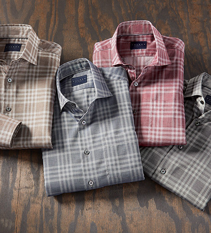Luxury Twill Plaid Long Sleeve Sport Shirt