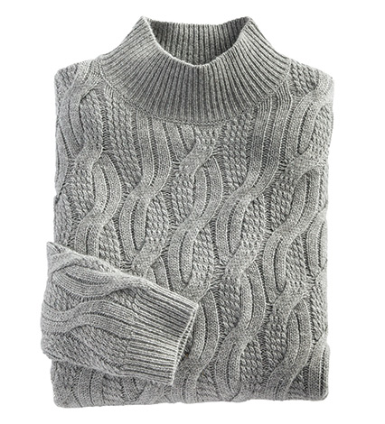 Cable Mock Neck Sweater