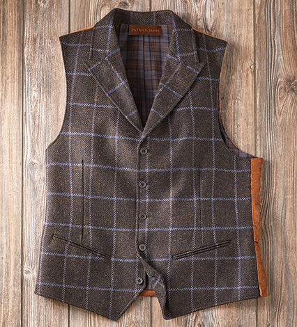 Brown Wool Windowpane Vest